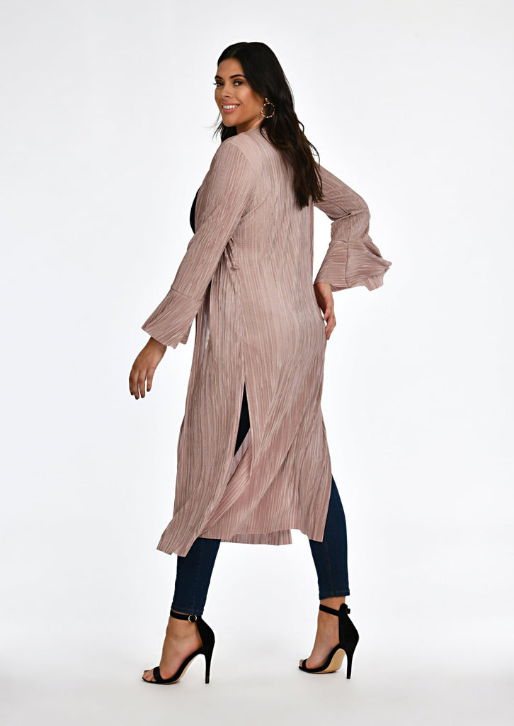 Pink Clove Mocha Pleated Tie Duster Jacket view 2