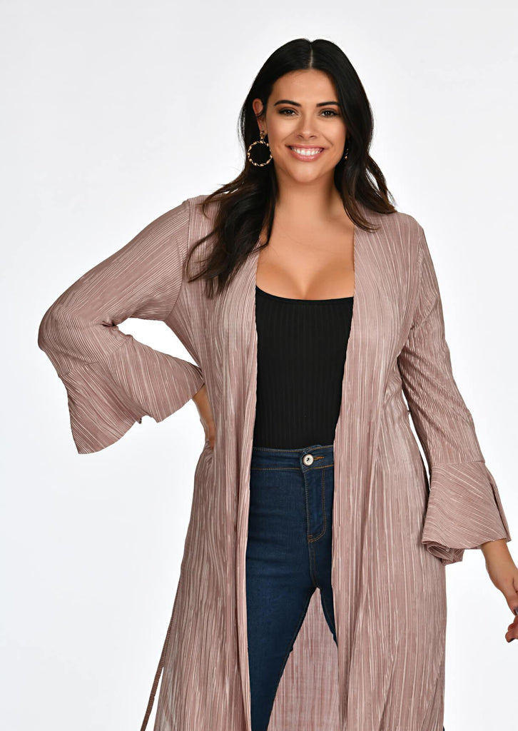 Pink Clove Mocha Pleated Tie Duster Jacket view 4