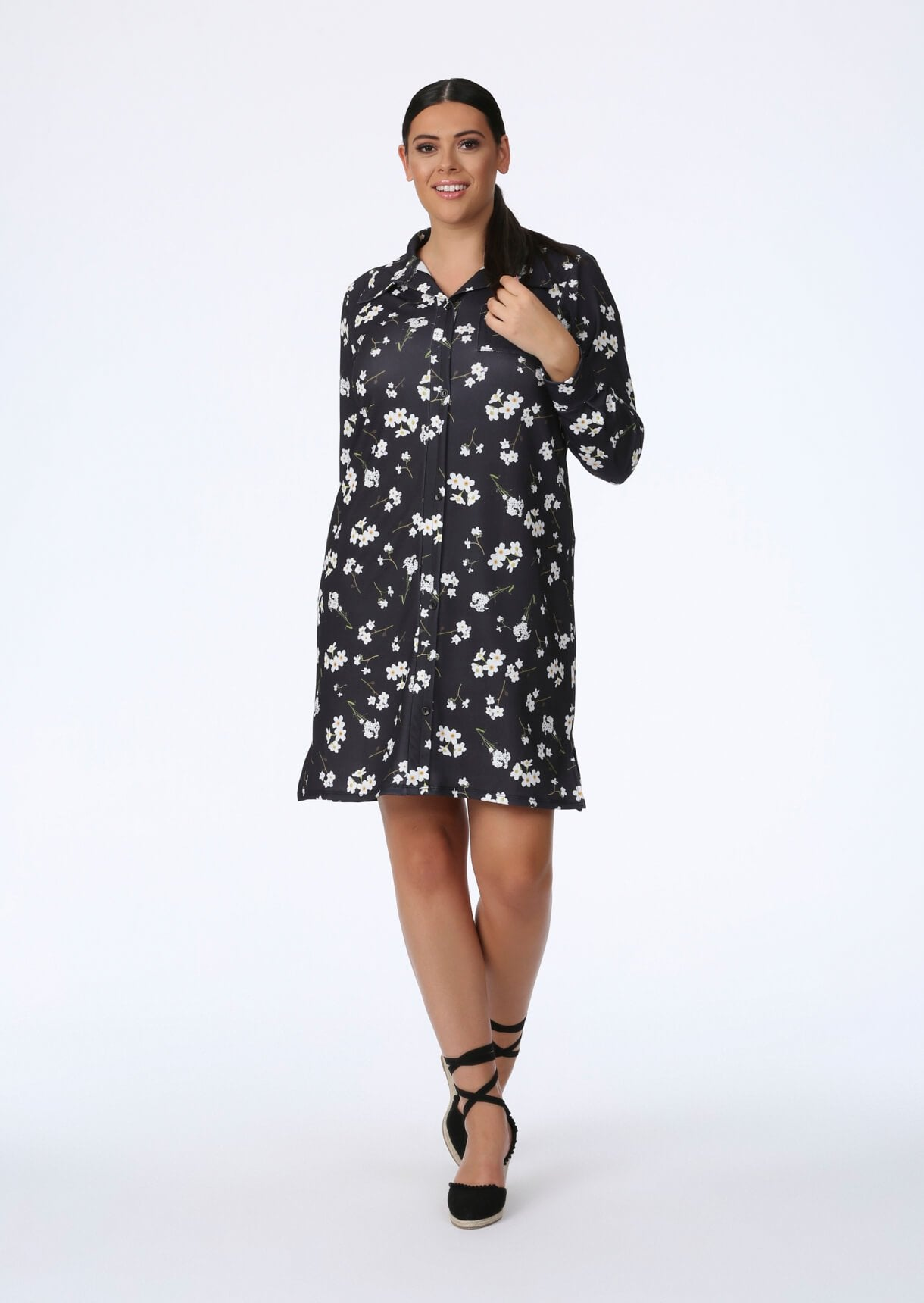 Black Daisy Floral Button Down Dress
