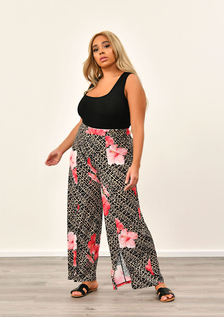 Pink Clove Multi Tropical Animal Print Trousers