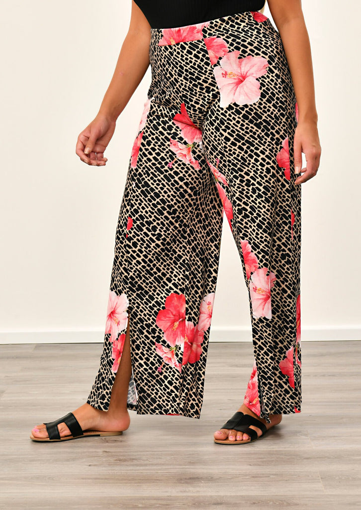 Pink Clove Multi Tropical Animal Print Trousers view 4