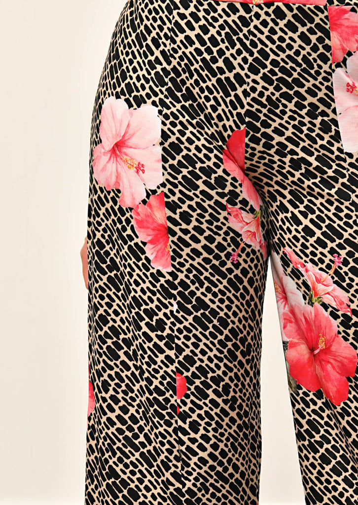 Pink Clove Multi Tropical Animal Print Trousers view 5