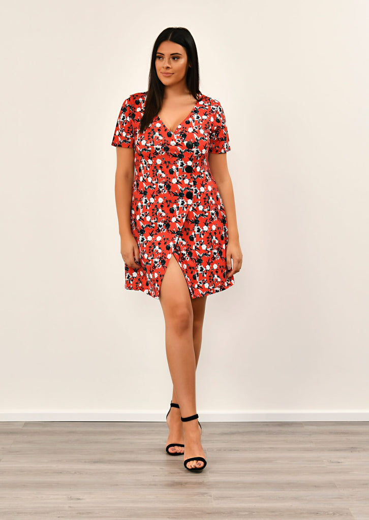 Pink Clove Red Floral Print Asymmetric Dress view 2