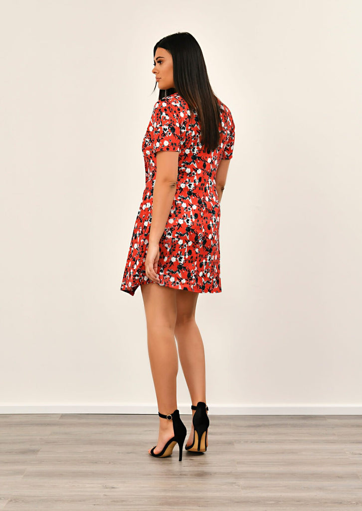 Pink Clove Red Floral Print Asymmetric Dress view 4