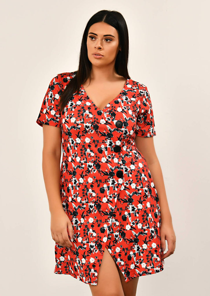 Pink Clove Red Floral Print Asymmetric Dress