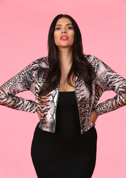 Plus Size Snake Print Shirt Style Jacket with Zip