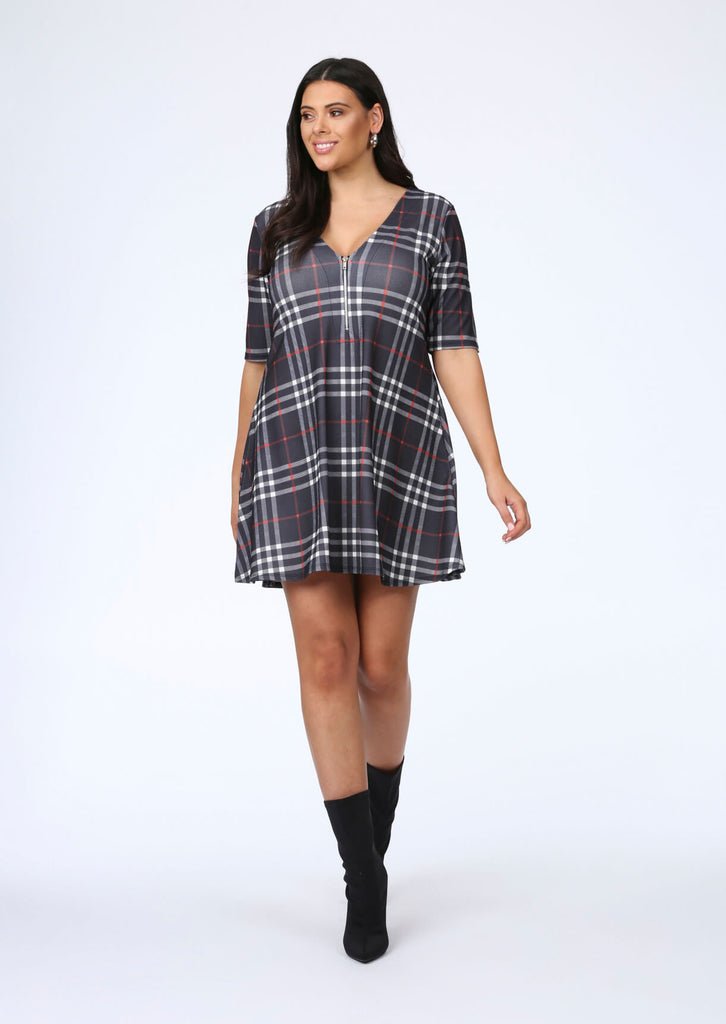 Plus Size Swing Dress in Check view 5