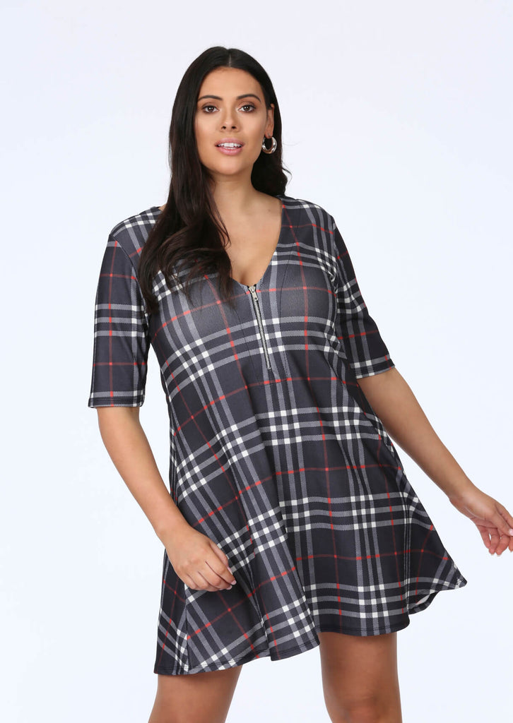 Plus Size Swing Dress in Check