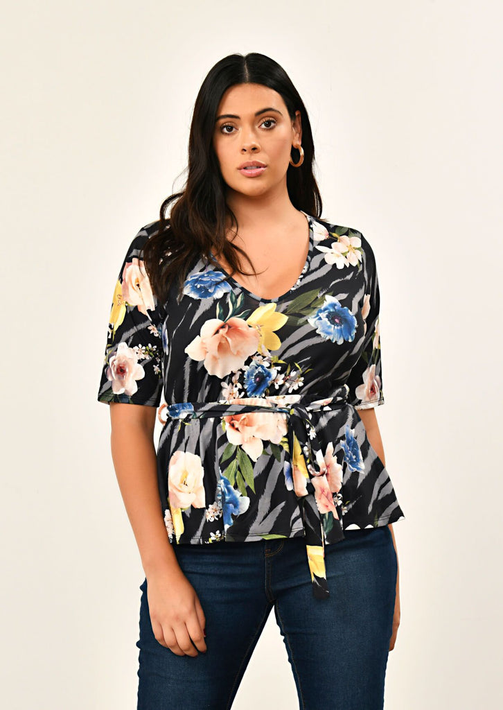 Pink Clove Black Floral Print Top view main view