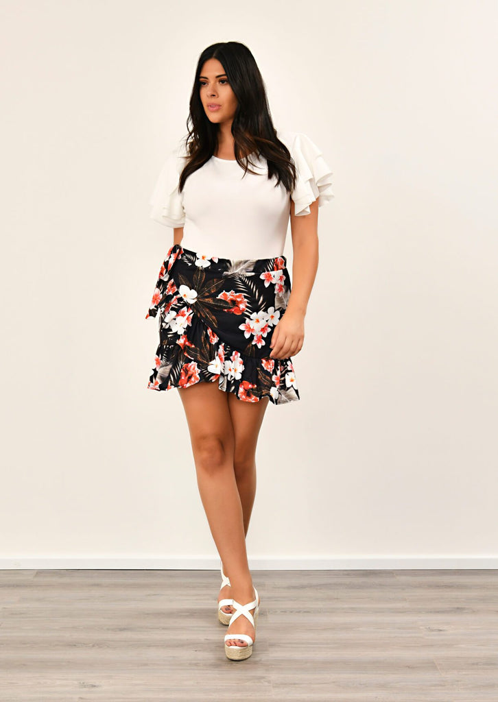 Pink Clove Black Floral Print Skirt view main view