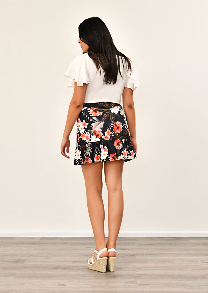 Pink Clove Black Floral Print Skirt view 5