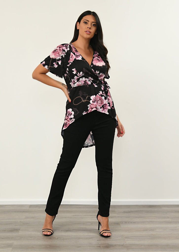 Pink Clove Black Flared Sleeve Wrap Top view 4