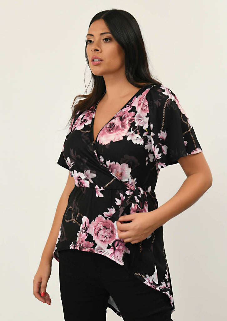 Pink Clove Black Flared Sleeve Wrap Top