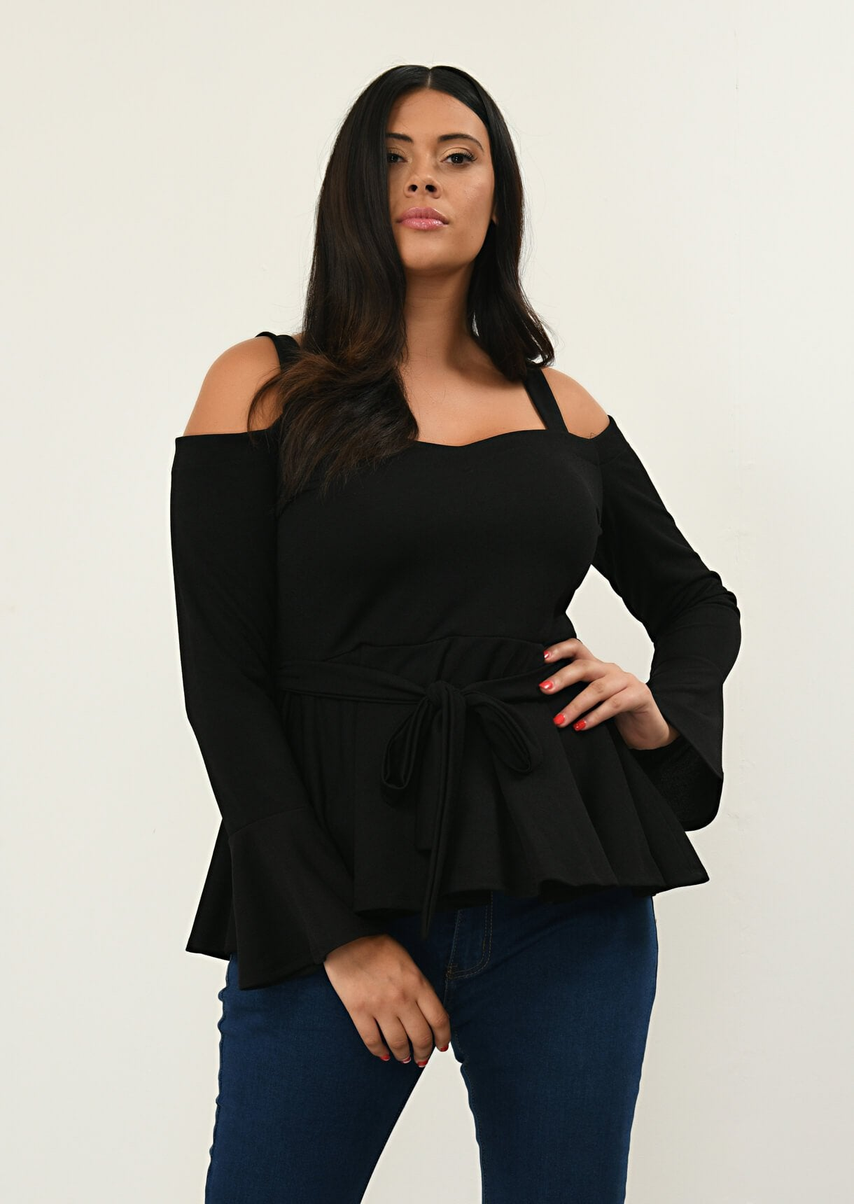 Black Cold Shoulder Tie Front Top