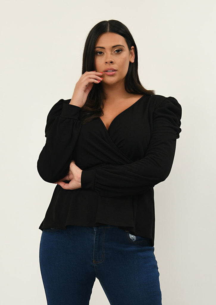 Pink Clove Black Tie Waist Wrap Top