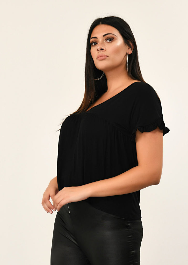Pink Clove Black Ruffle Sleeve V-Neck view 2