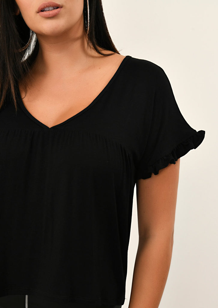 Pink Clove Black Ruffle Sleeve V-Neck view 5