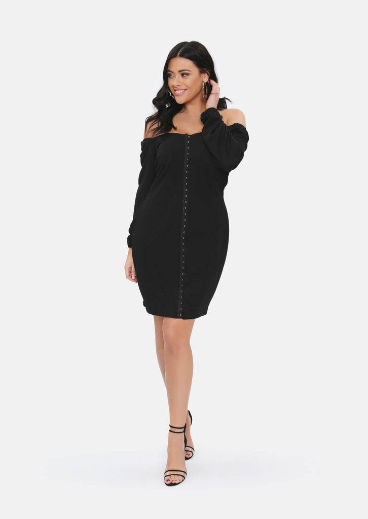 Pink Clove Black Long Sleeve Corset Dress
