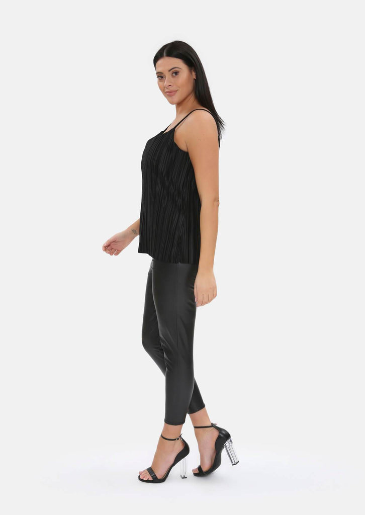 Pink Clove Black Pleated Plisse Vest Top view 5