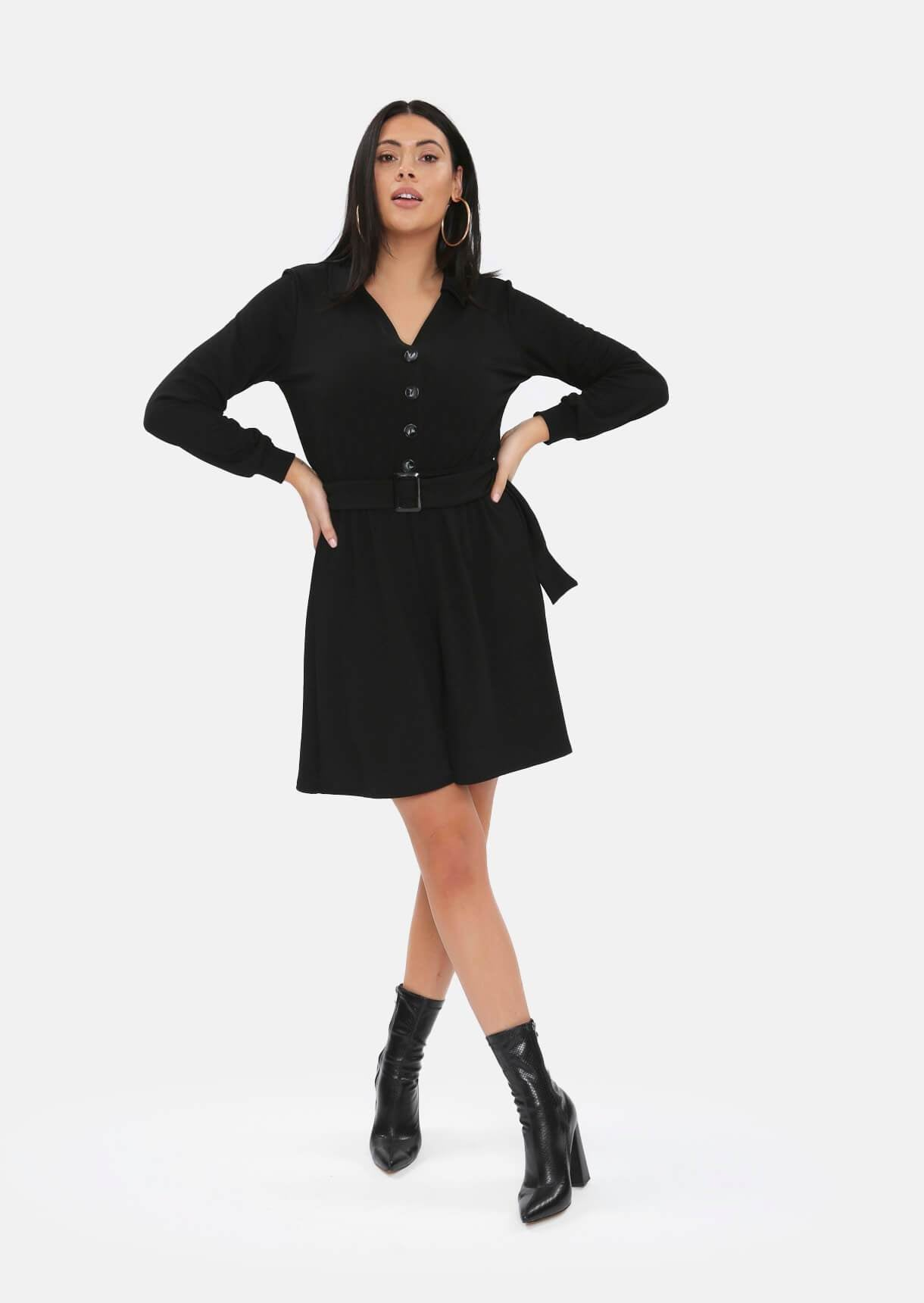 Black Belted Button Playsuit