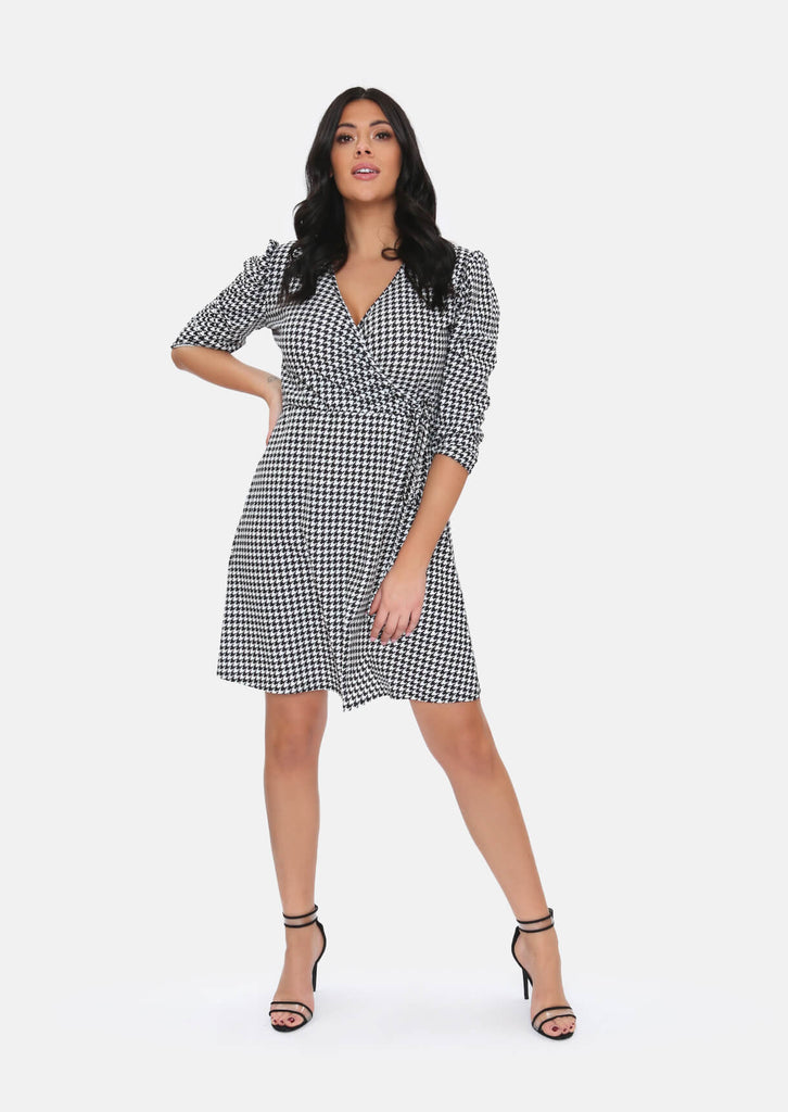 Pink Clove Black & White Dogtooth Pattern Wrap Dress