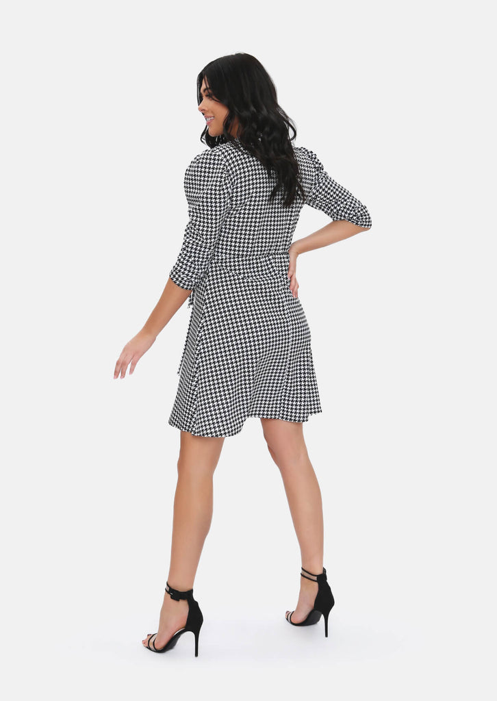 Pink Clove Black & White Dogtooth Pattern Wrap Dress view 4