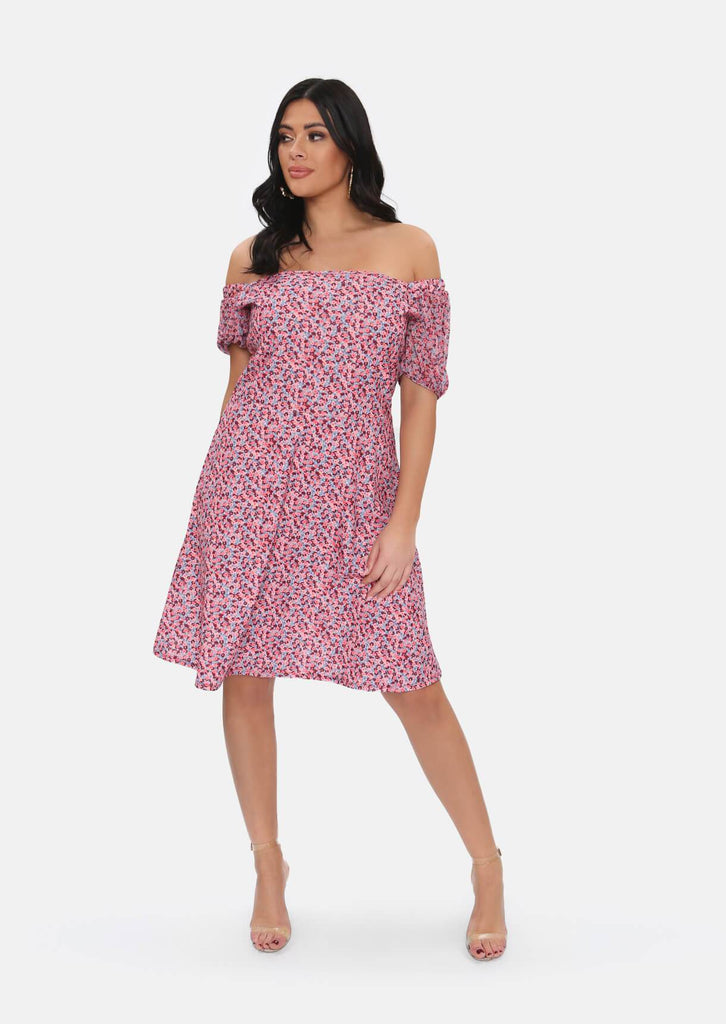 Pink Clove Pink Floral Midi Dress view main view