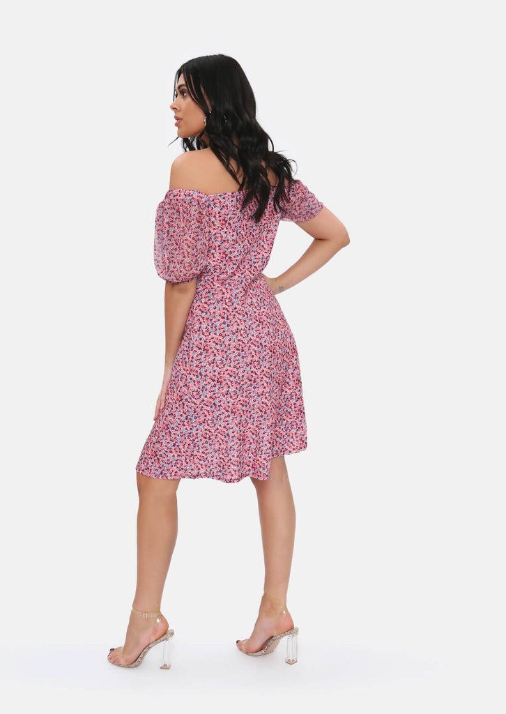 Pink Clove Pink Floral Midi Dress view 5