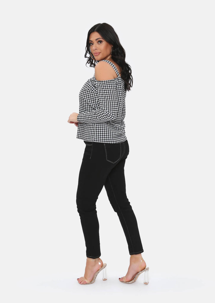 Pink Clove Black Dogtooth Cold Shoulder Top view 4