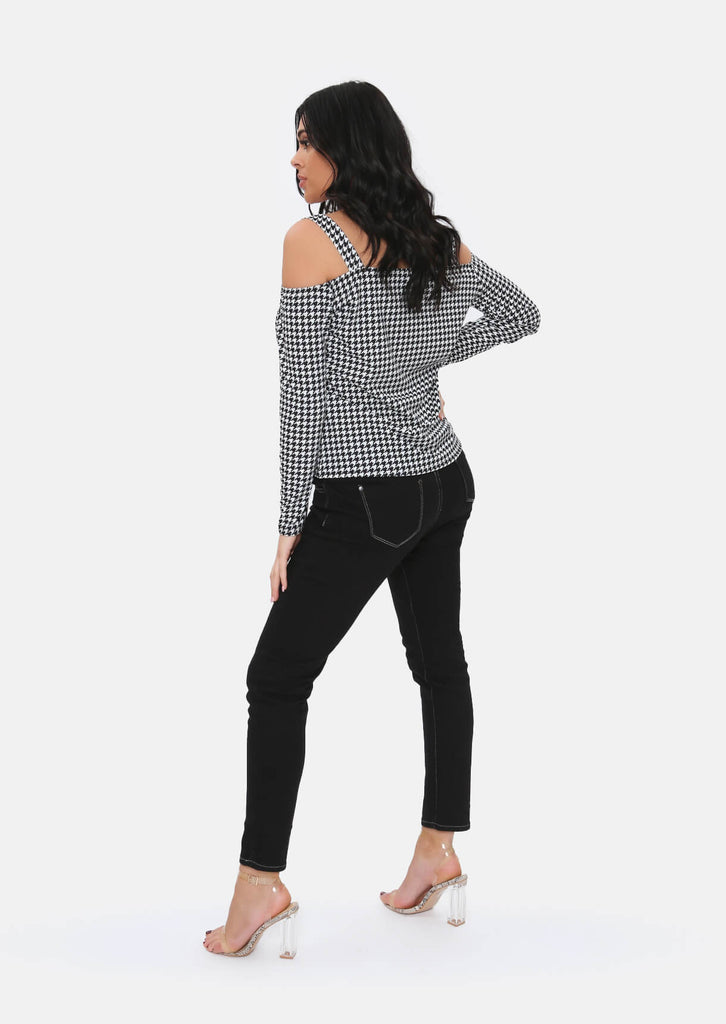 Pink Clove Black Dogtooth Cold Shoulder Top view 5