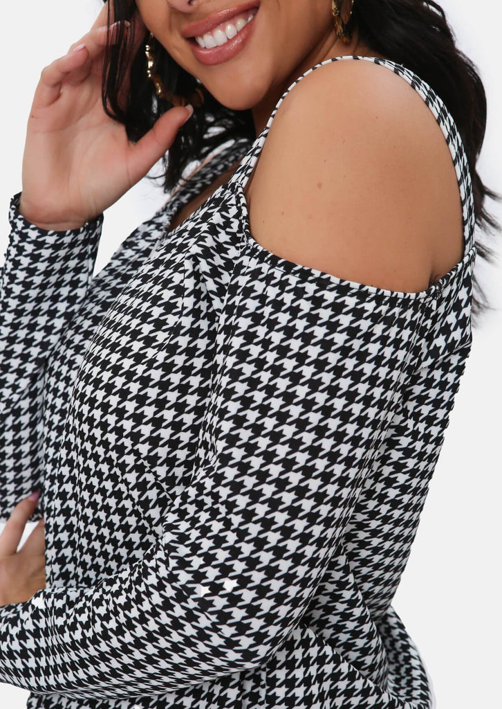 Pink Clove Black Dogtooth Cold Shoulder Top view 3