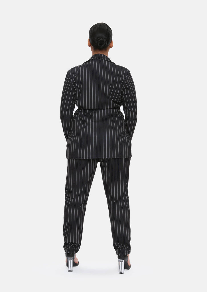 Pink Clove Black & White Striped Trousers With Pockets view 5