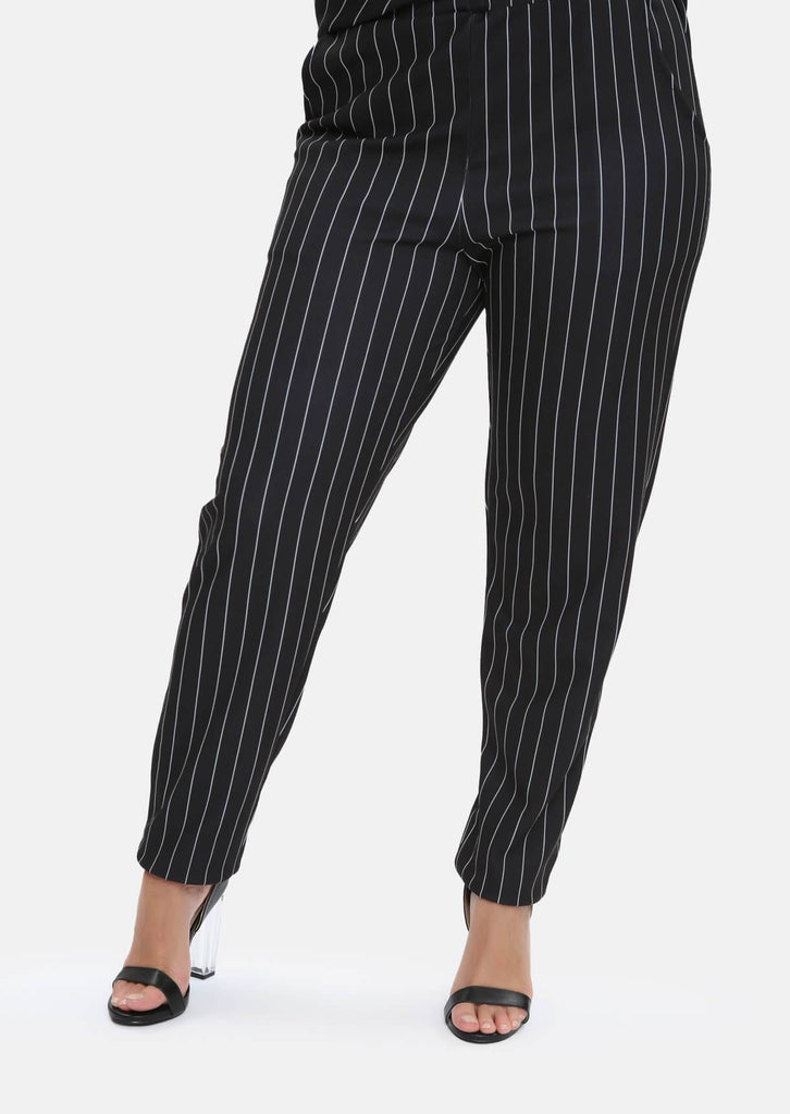 Pink Clove Black & White Striped Trousers With Pockets view 2