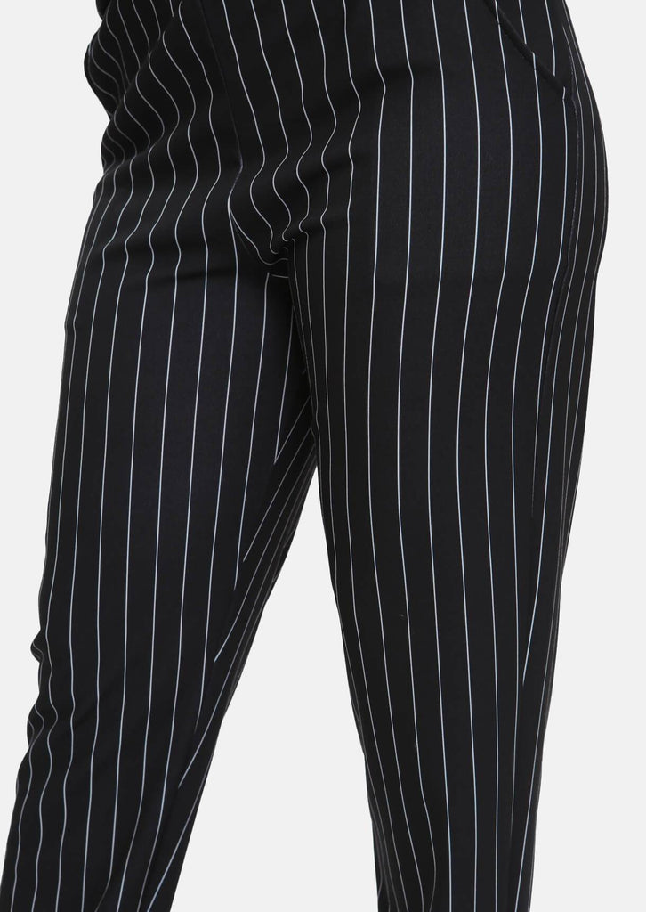Pink Clove Black & White Striped Trousers With Pockets view 3