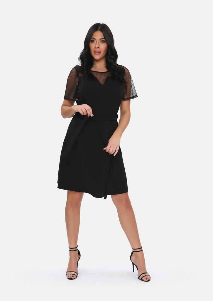 Pink Clove Black Mesh Sleeve Polka Dot Midi Dress With Belt