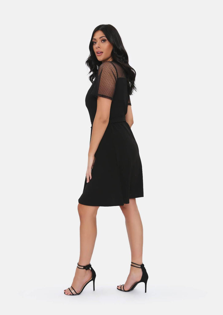 Pink Clove Black Mesh Sleeve Polka Dot Midi Dress With Belt view 3