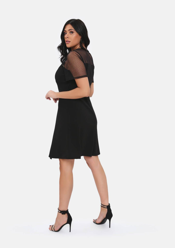Pink Clove Black Mesh Sleeve Polka Dot Midi Dress With Belt view 5