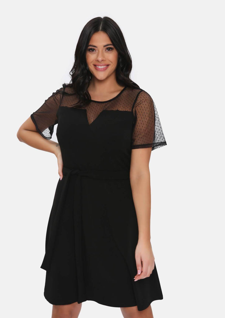 Pink Clove Black Mesh Sleeve Polka Dot Midi Dress With Belt view 2