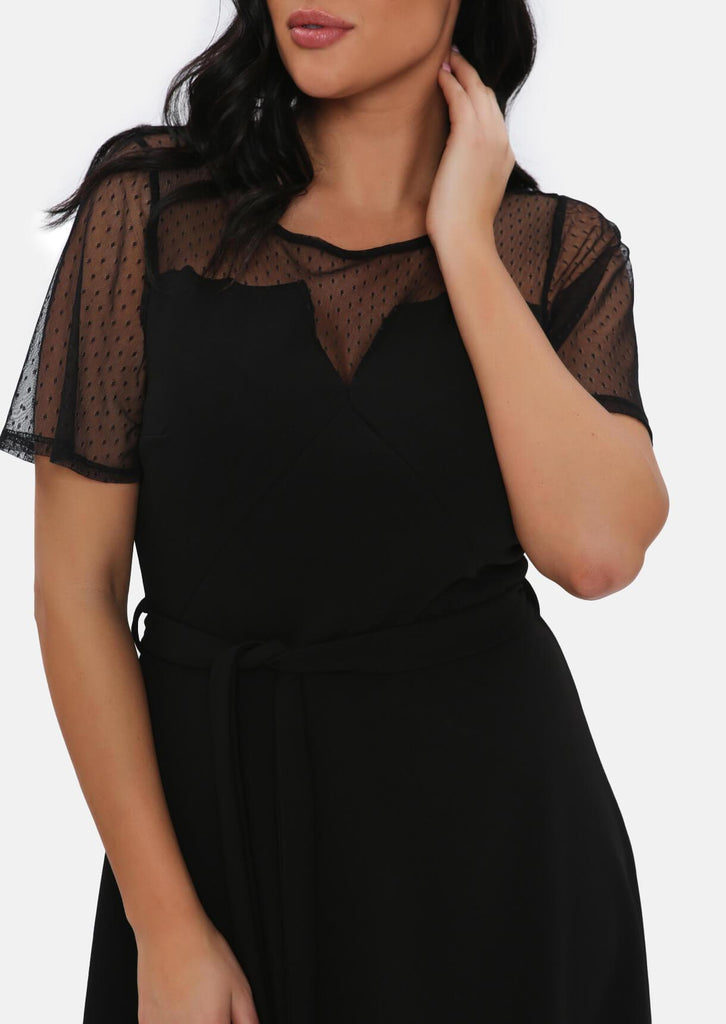 Pink Clove Black Mesh Sleeve Polka Dot Midi Dress With Belt view 4