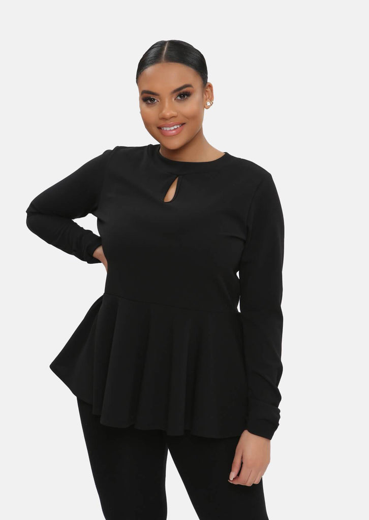 Pink Clove Black Frill Cut Out Top