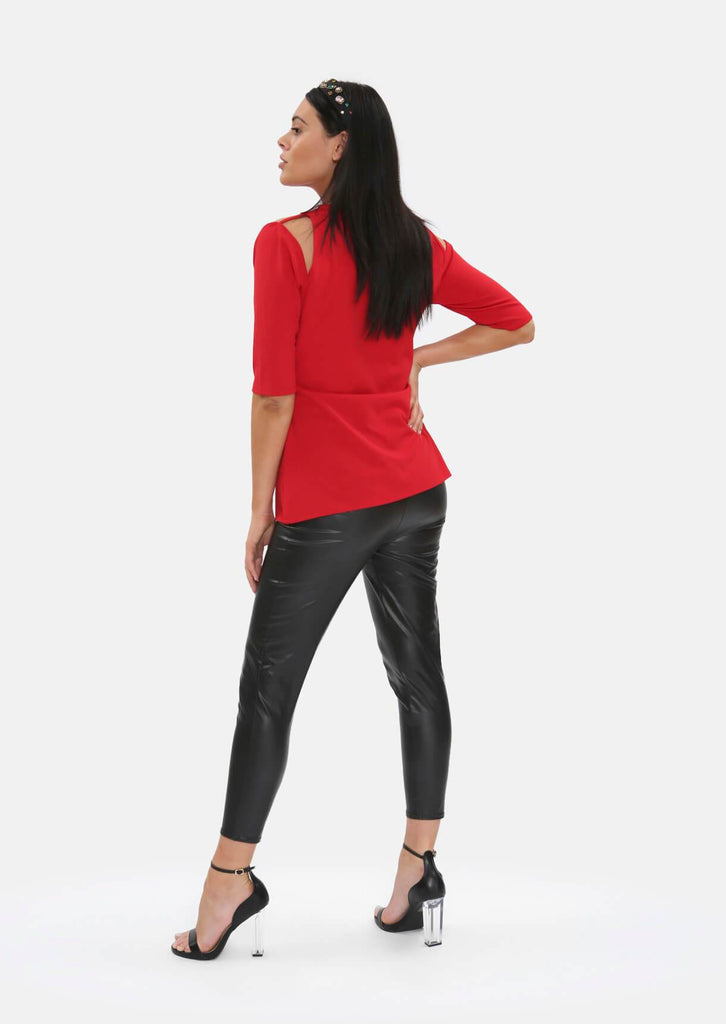 Pink Clove Red Cut Out Shoulder Top view 5