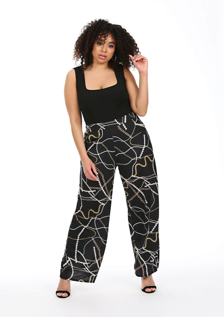 Pink Clove Black Chain Print Wide Leg Trousers