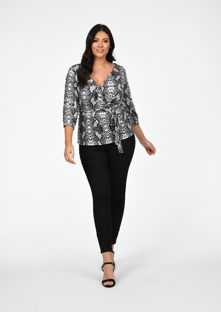 Plus Rian Snake Print Asymmetric 3/4 Sleeve Wrap Top view 2