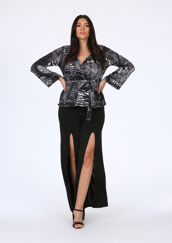 Wrap Top in Chain Print view 2