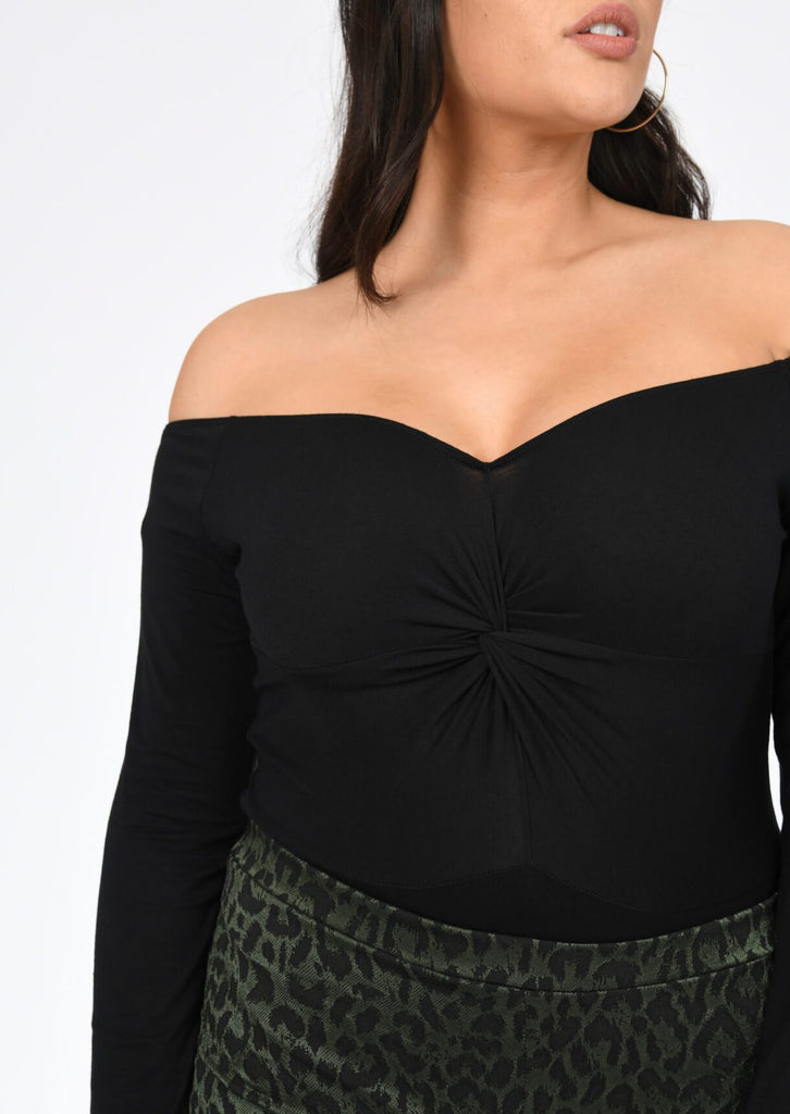 Plus Francie Off The Shoulder Twist Bodysuit in Black view 5