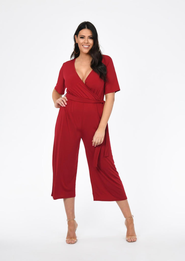Plus Size wrap over Jumpsuit in Berry