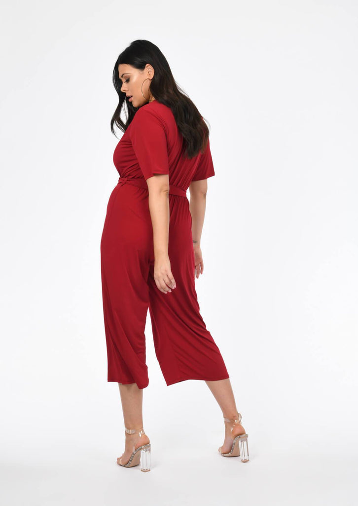 Plus Size wrap over Jumpsuit in Berry view 3