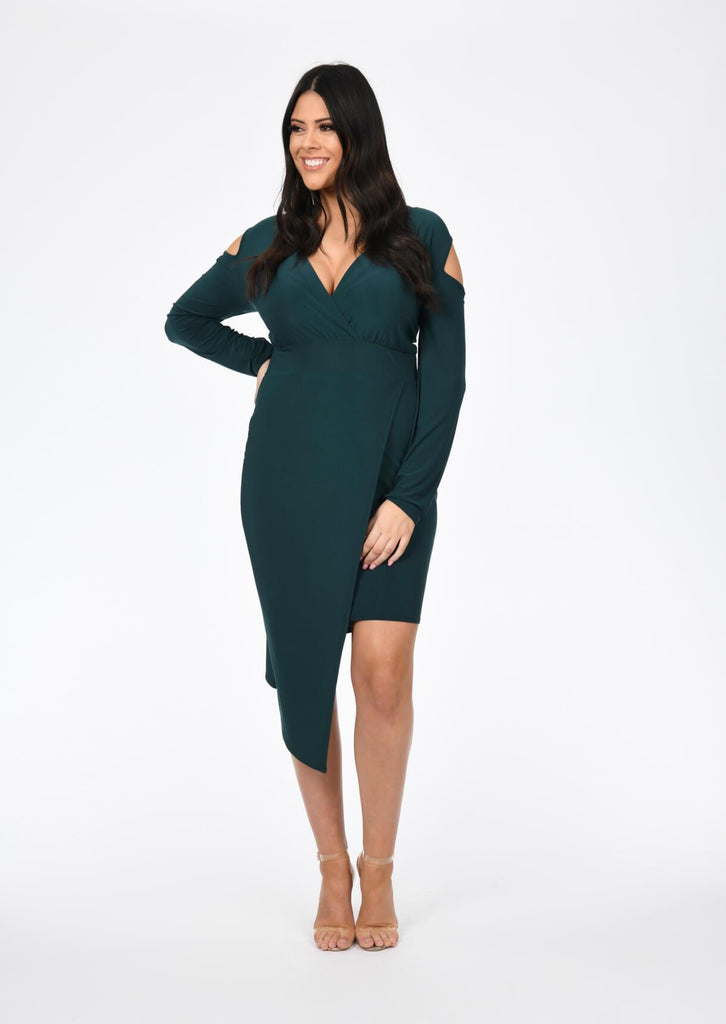 Plus Size Emerald Green V Neck Cold Shoulder Dress view 5