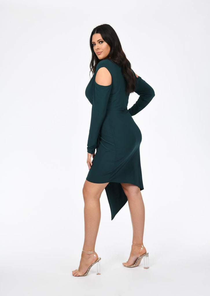 Plus Size Emerald Green V Neck Cold Shoulder Dress view 3