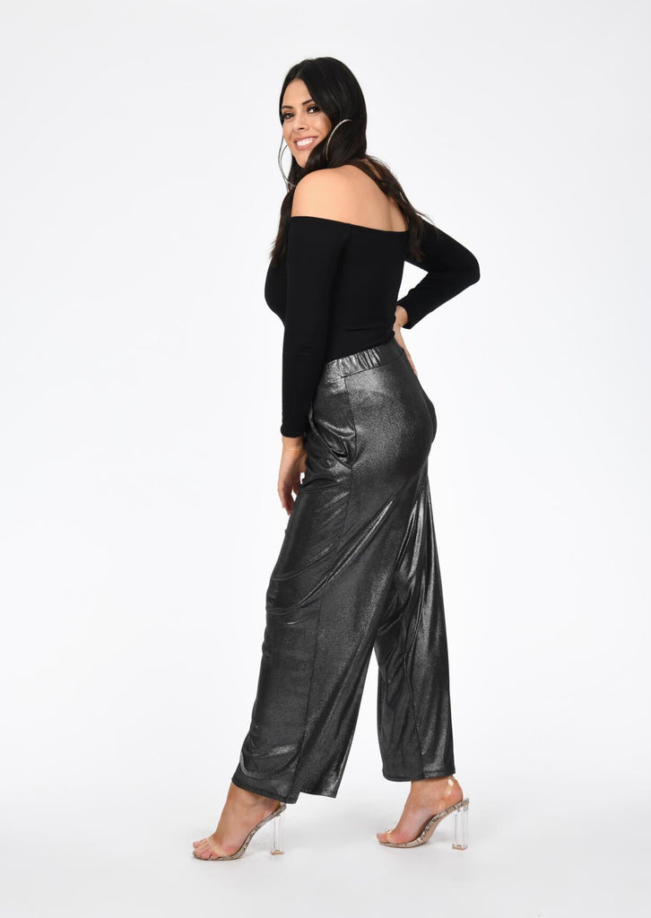 Plus Size Grey Metallic Wide Leg Trousers